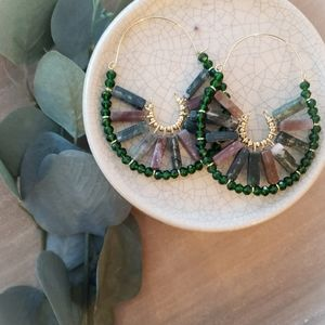 Anthro Green Stone Hoops